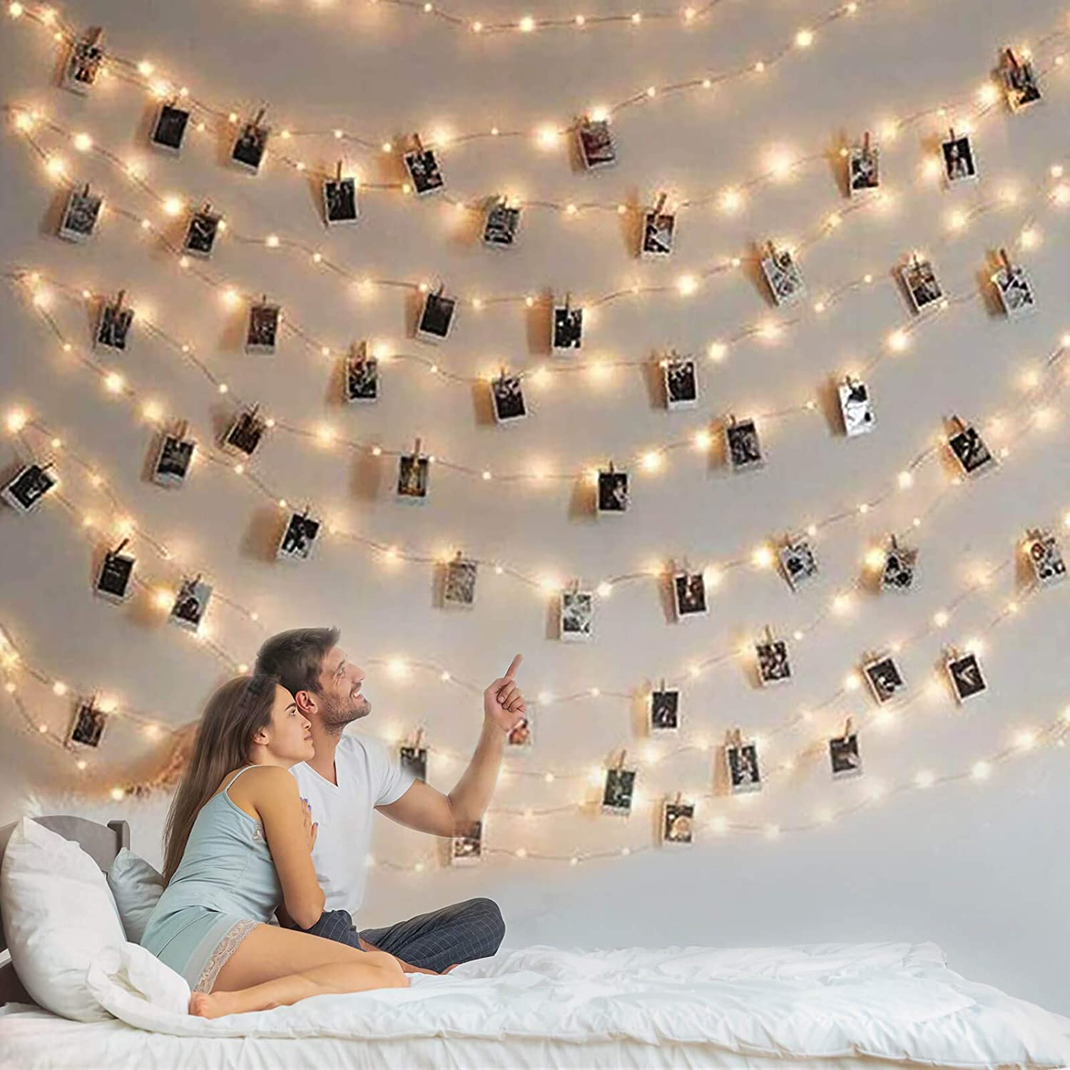 Photo Clip String Light - 33Ft 100LED Fairy Lights with Clips for Pictures, Photo Lights with 50 Clear Clips for Dorm Bedroom Wall/Wedding Décor