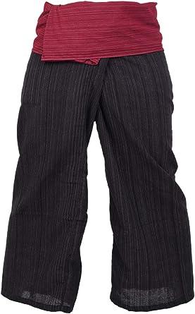 Pantalones de algodón de estilo pescador tailandés, de 2 colores, aptos para cualquier talla, para yoga: Amazon.es: Ropa y accesorios