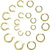 10 Pairs Small Hoop Earring Set for Women Men Girls Lightweight Click-Top Stainless Steel Cartilage Earring Endless…
