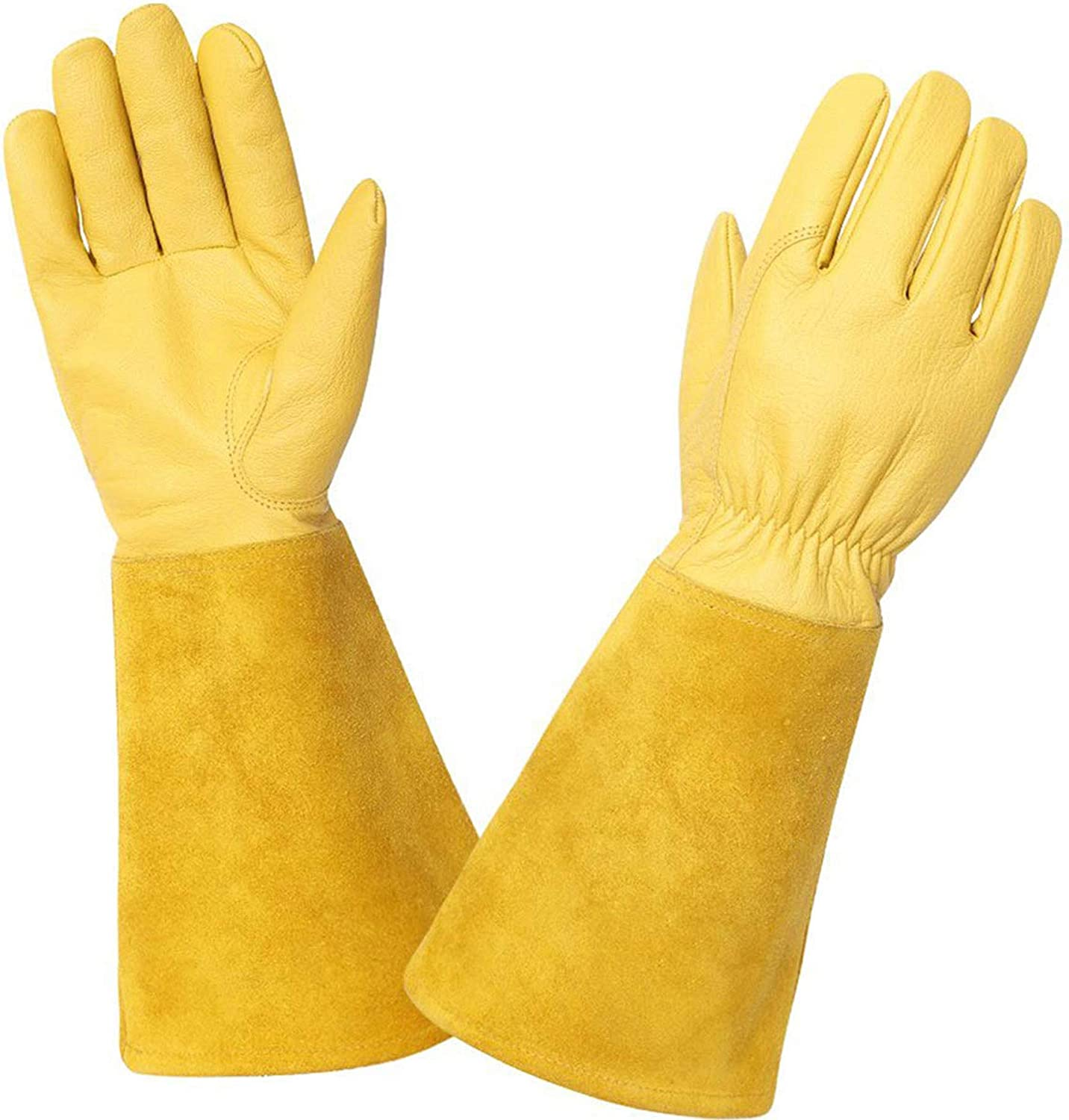 KIM YUAN Rose Pruning Gloves for Men and Women. Thorn Proof Goatskin Leather Gardening Gloves with Long Sheepskin Gauntlet to Protect Your Arms Until The Elbow (Yellow-M)