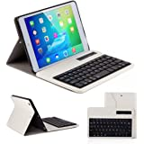 Ewin® ipad mini1 ケース/ipad mini2 ケース/ipad mini3 ケースキーボード付き Bluetooth分離式キーボード保護ケース 高品質 PUレザー素材 スタンド機能付き bluetooth keyboard case (簡易日本語説明書と一年の保証付き) (ホワイト)