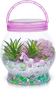 DIY Light up Unicorn Terrarium Kit for Kids with LED Light - Create Your Own Magical Mini Plant Garden in a Jar - Unicorn Gifts For Girls - Crafts, Kits, Unicorn Stuff, Bedroom Decor Ages 7-8-9-10-12