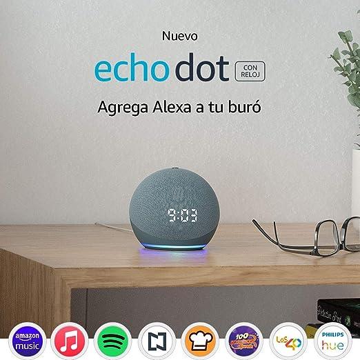 Nuevo Echo Dot (4ta Gen) - Bocina inteligente con reloj y Alexa - Azul: Amazon.com.mx