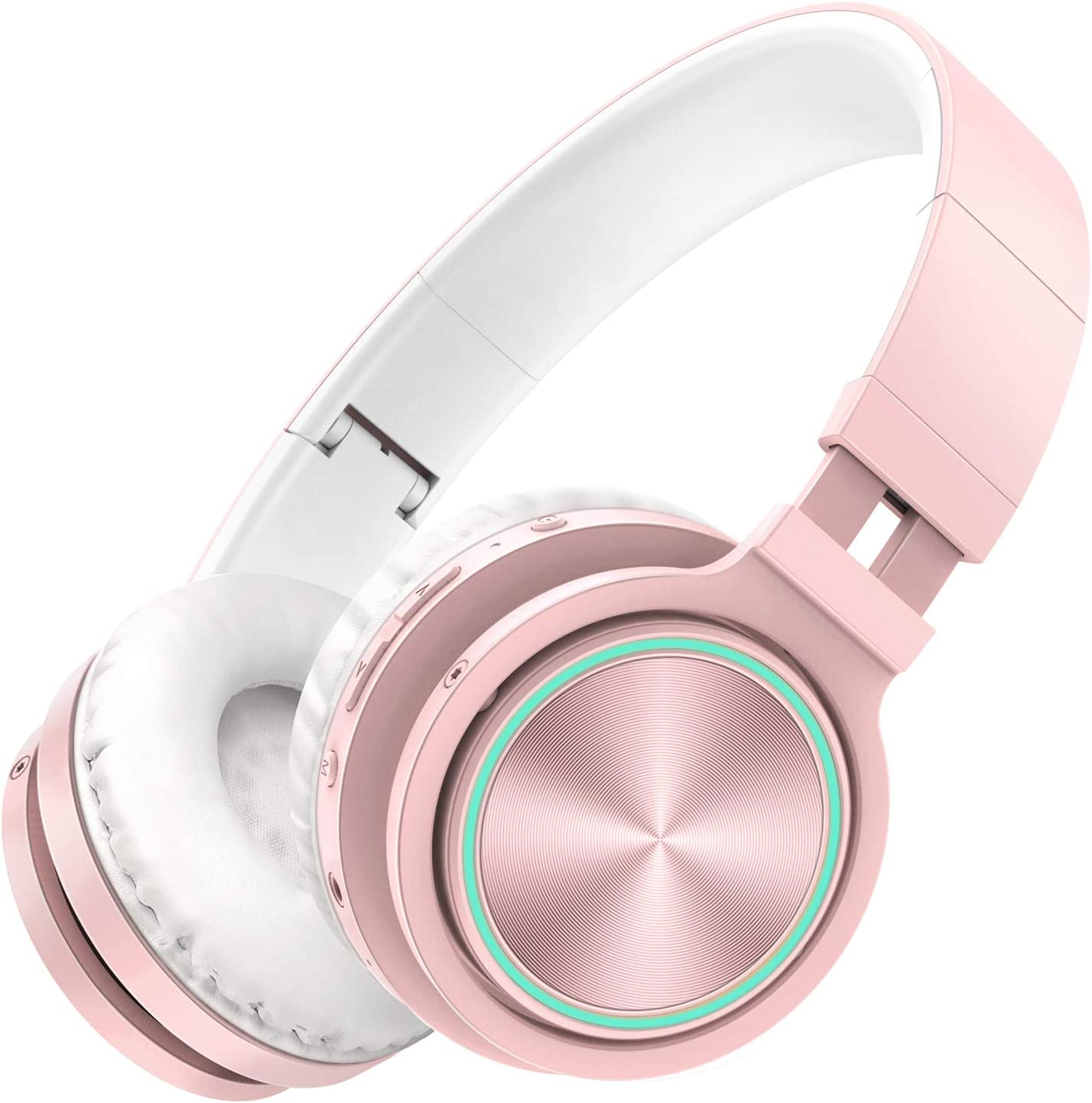 Picun Wireless Headphones 25 Hours Playtime Romantic LED Bluetooth Headphones, HiFi Stereo Headphones with HD Mic, Foldable, Soft Snug Protein Earpads, TF Wired Mode for Women Girls Kids Rose Gold