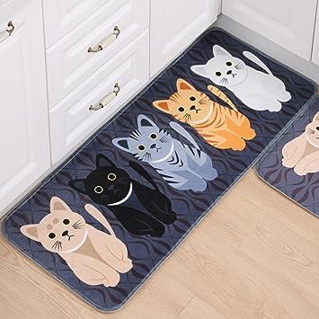 IGEMY - Alfombras antideslizantes para baño, cocina o entrada con estampado de gato: Amazon.es: Hogar