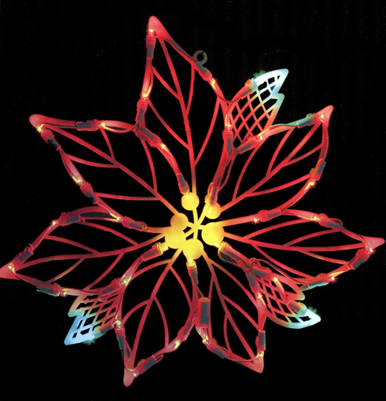 "Vickerman Lighted LED Poinsettia Flower Christmas Window Silhouette Decoration, 15"""