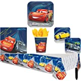Cars 3 Birthday Party Supplies Pack for 8 Guests - Lunch Plates, Dessert Plates, Lunch Napkins, Cups, and a Table Cover