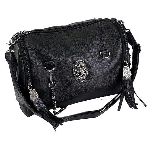 ef14ecf754 Women PU Leather Shoulder Bag Studded Skull Handbag  Amazon.co.uk ...