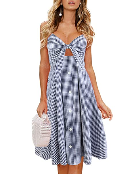 discount collection luxury fashion best choice Womens Dress Tie Front Summer V Neck Sleeveless Spaghetti Strap Flowy  Sundress Halter Swing Button Down Midi Dress (Large, Blue)