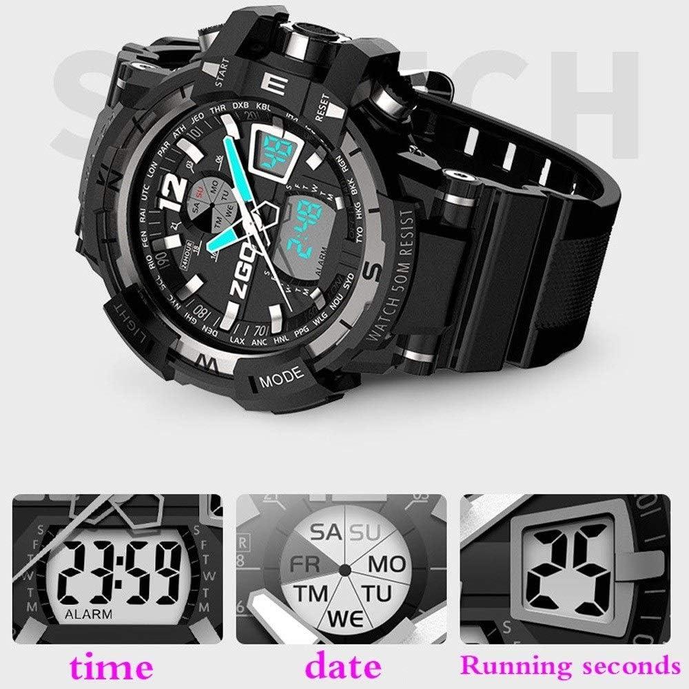 CNWATH Orologi sportivi Mens digitale militare elettronico orologio multifunzionale Military Watch data Maschio Multi-Funzione impermeabile B
