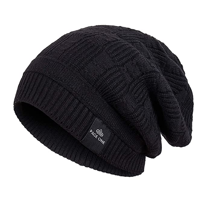 4a3cd79e1ca PAGE ONE Mens Winter Warm Knit Wool Hat Soft Fleece Lined Stretch Slouchy  Skully Beanie Men