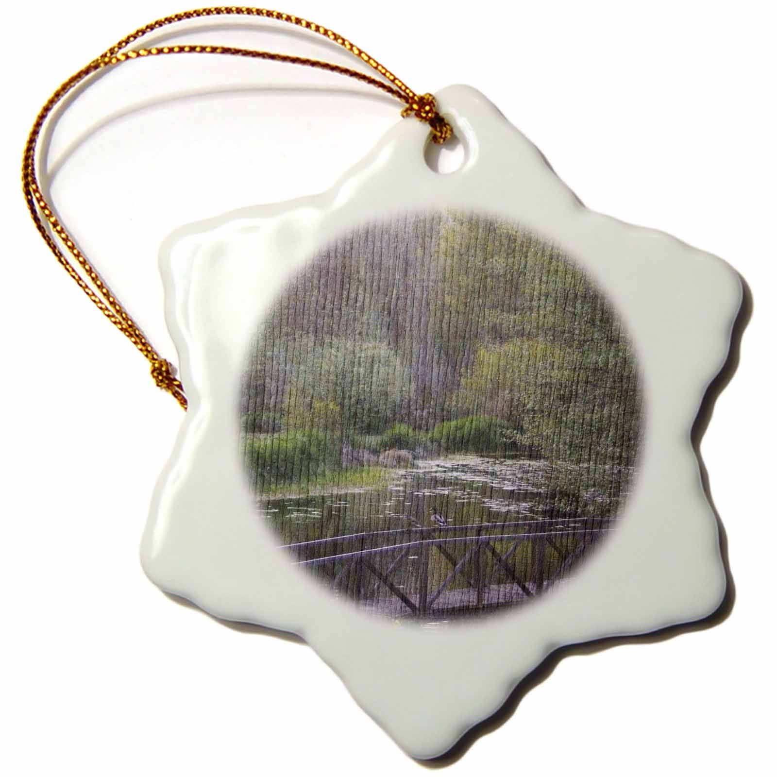 3dRose Bridge in The Meadow Photography Scenic Photography Country - Snowflake Ornament, Porcelain, 3-Inch (ORN_29425_1)