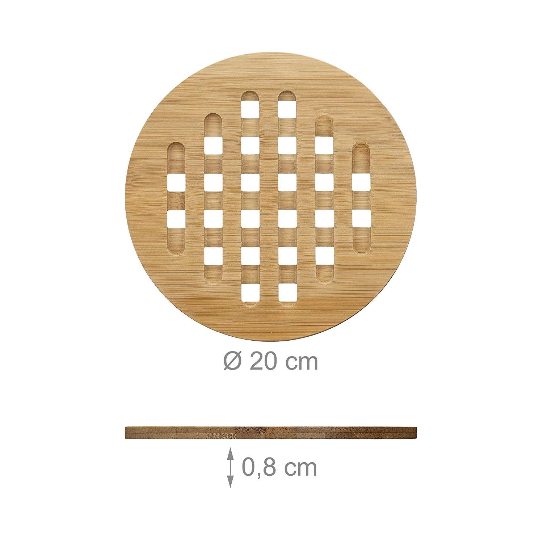 Relaxdays Untersetzer 4er Set Rund Bambus Topfuntersetzer Aus Holz