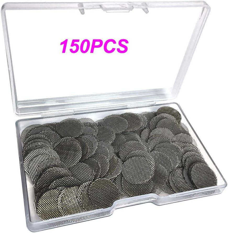 Gebildet 150 Piezas 20mm Filtros de Pipa de Fumar de Acero Inoxidable, Pantallas de Pipas, Filtros de Pantalla de Pipa para Fumar con Caja de Almacenaje (Color Plata)