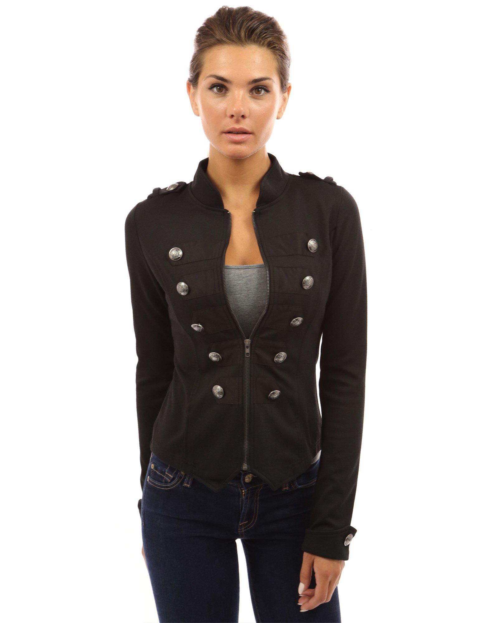 PattyBoutik Women's Zip Front Stand Collar Military Light Jacket (Black L)