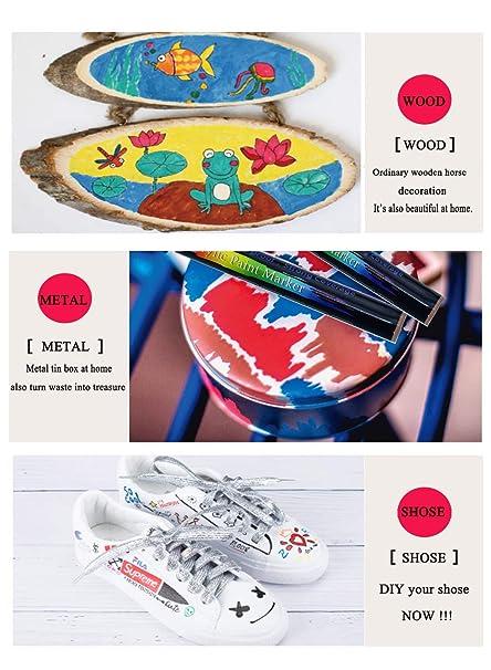 Rotuladores de Pintura Acrílica, UGUI 15 Colores Permanentes Punta Extrafina de 0,7 mm para Roca, Proyectos de Bricolaje, Tela, Metal, Vidrio, Madera, ...
