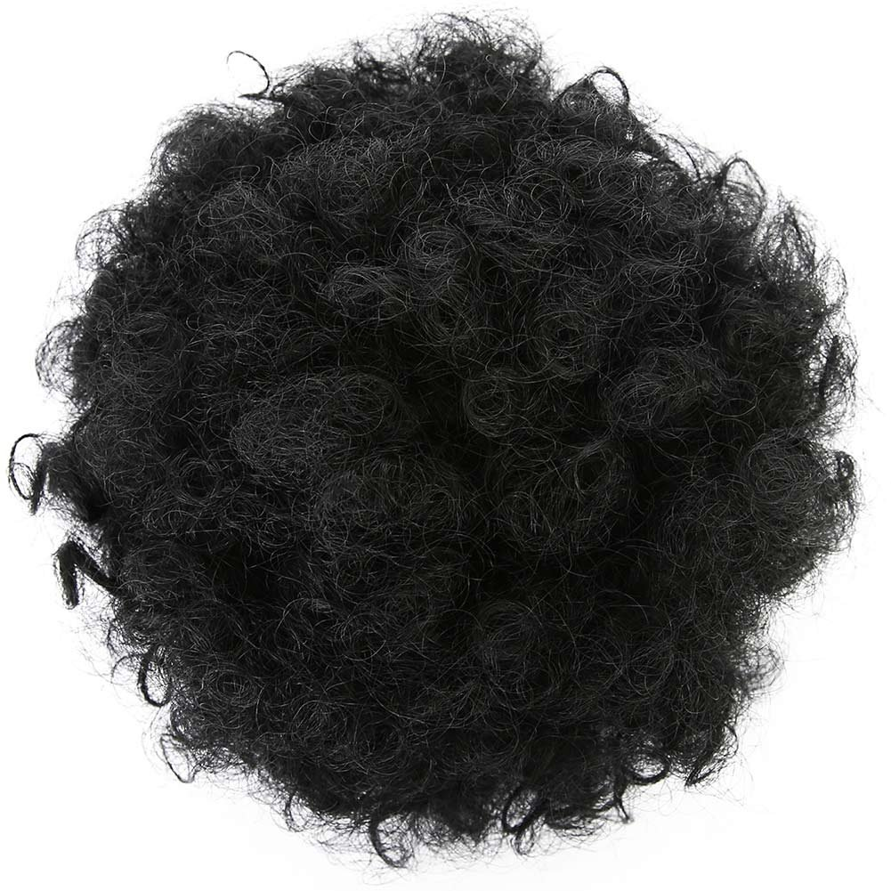 Armmu 8Inch Short Afro Kinky Curly Hair Updo Wrap Synthetic Hair Drawstring High Puff Ponytail Hair Extension Afro Bun for Natural Hair With 2 Clips(Black)