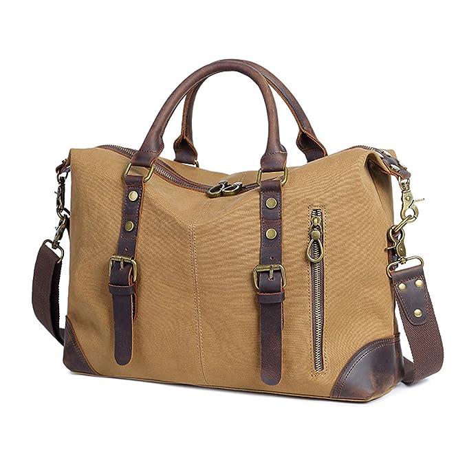 4beff6608a1e Genuine Leather Canvas Duffle Bag Weekender Bag Carryon Handbag for Men and  Women-Khaki