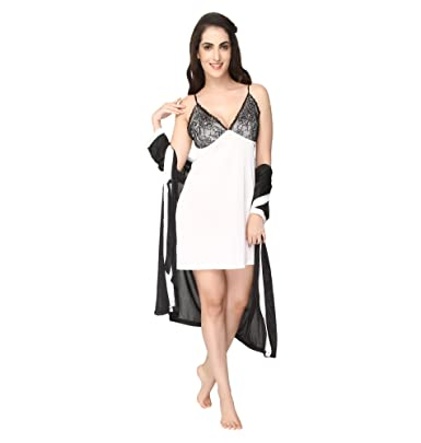 447082c9b783b Pretty Awesome Women's Satin 3 Pc Short Bedroom Nighty/Nightdress/Nightwear  Black: Amazon.in: Clothing & Accessories
