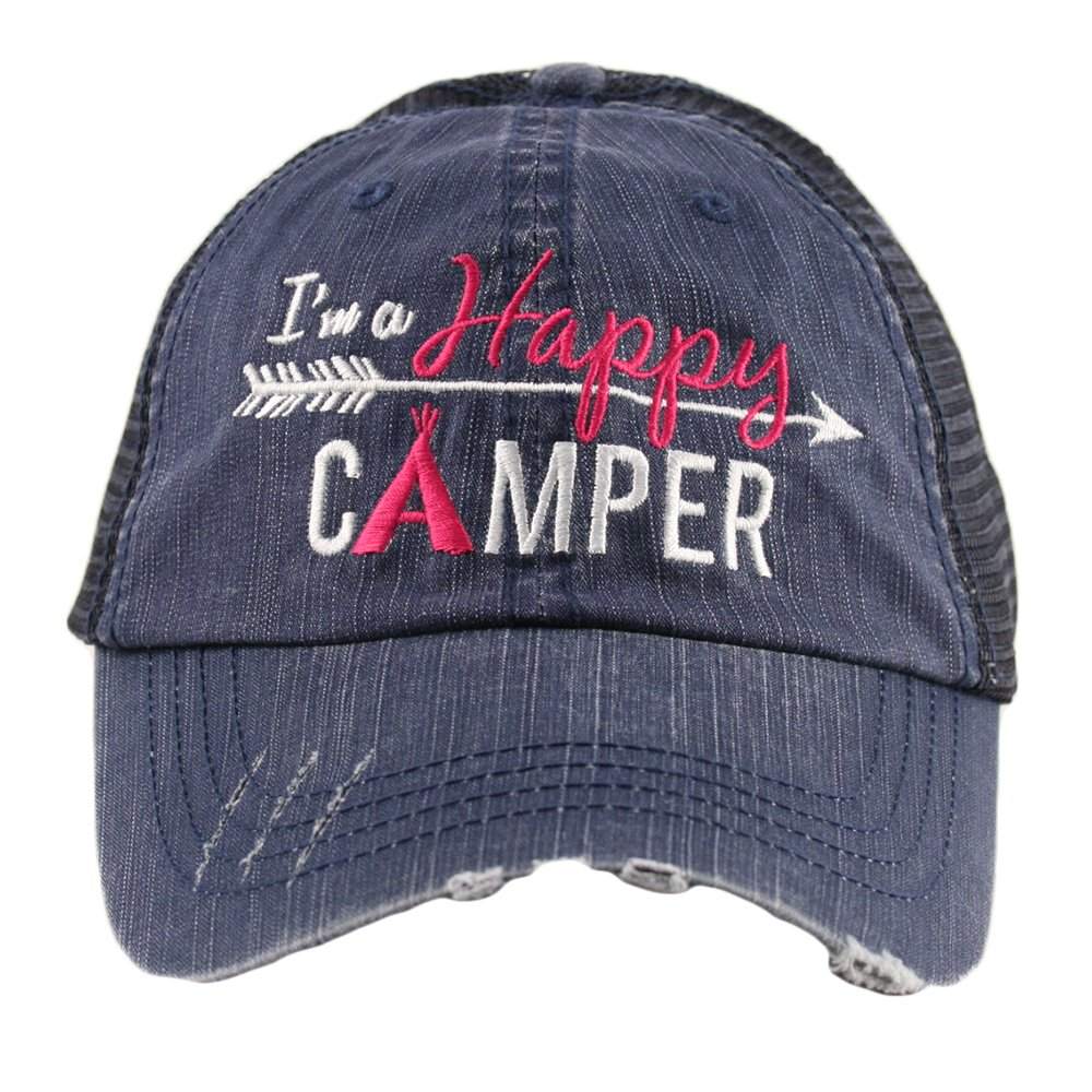 838caf3c0a269f I'm A Happy Camper Women's Mesh Trucker Hat Cap by Katydid product image