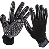 Pet Grooming Glove, Hair Removal Mitts, Horse Glove, Cat Mitts Dog Grooming Brushes Gloves Works as Grooming, Bathing, Shedding, Combing and Massage Gloves for Dogs/ Cats/Horse, One Pair