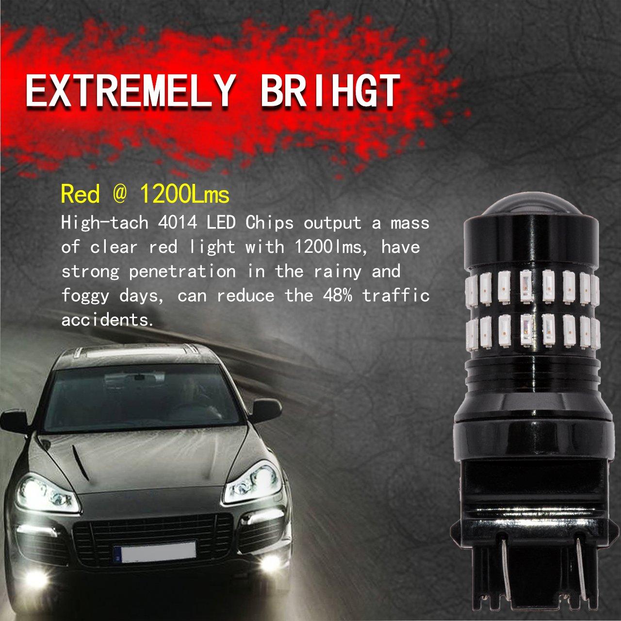 Ngcat 1200LM Rouge 3157/ampoules LED tr/ès lumineux 48-smd 4014/LED Garde toujours T25/3156/3057/4057/4157/LED Ampoules avec Vid/éoprojecteur pour les lampes de signal Tail sauvegarde invers/ée Lights l