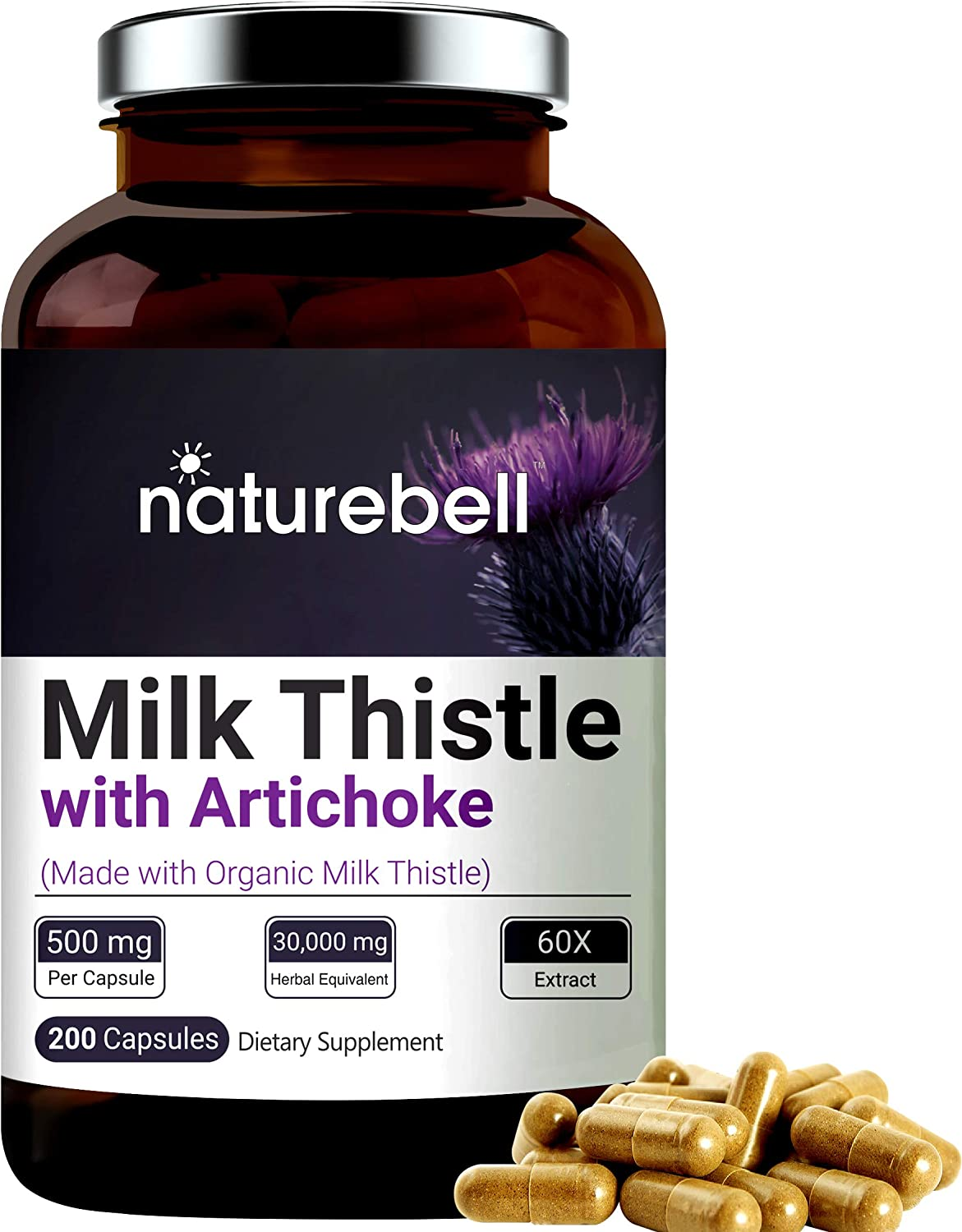 Milk Thistle Extract 30:1, Made with Organic Milk Thistle Powder and Artichoke Extract, 9000mg Herbal Equivalent, 200 Capsules, Active Natural Silymarin for Liver Health, Non-GMO and Made in USA