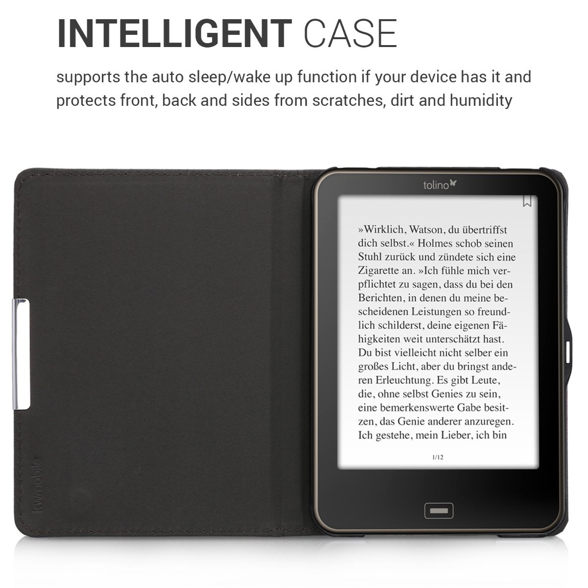 kwmobile Case for Tolino Shine 2 HD - Book Style PU Leather Protective e-Reader Cover Folio Case - white black by kwmobile (Image #5)