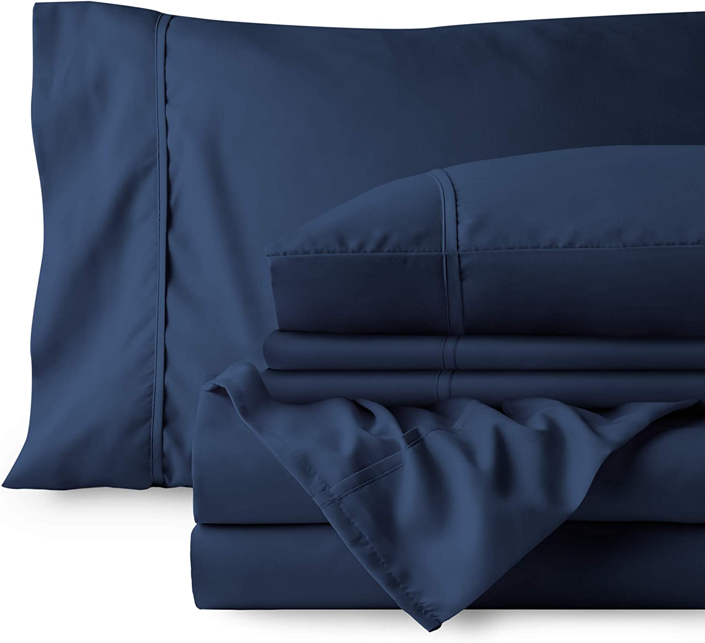 Bare Home 4 Piece 1800 Deep Pocket Bed Sheet Set - Ultra-Soft Hypoallergenic - 2 Pillowcases (Twin, Dark Blue)