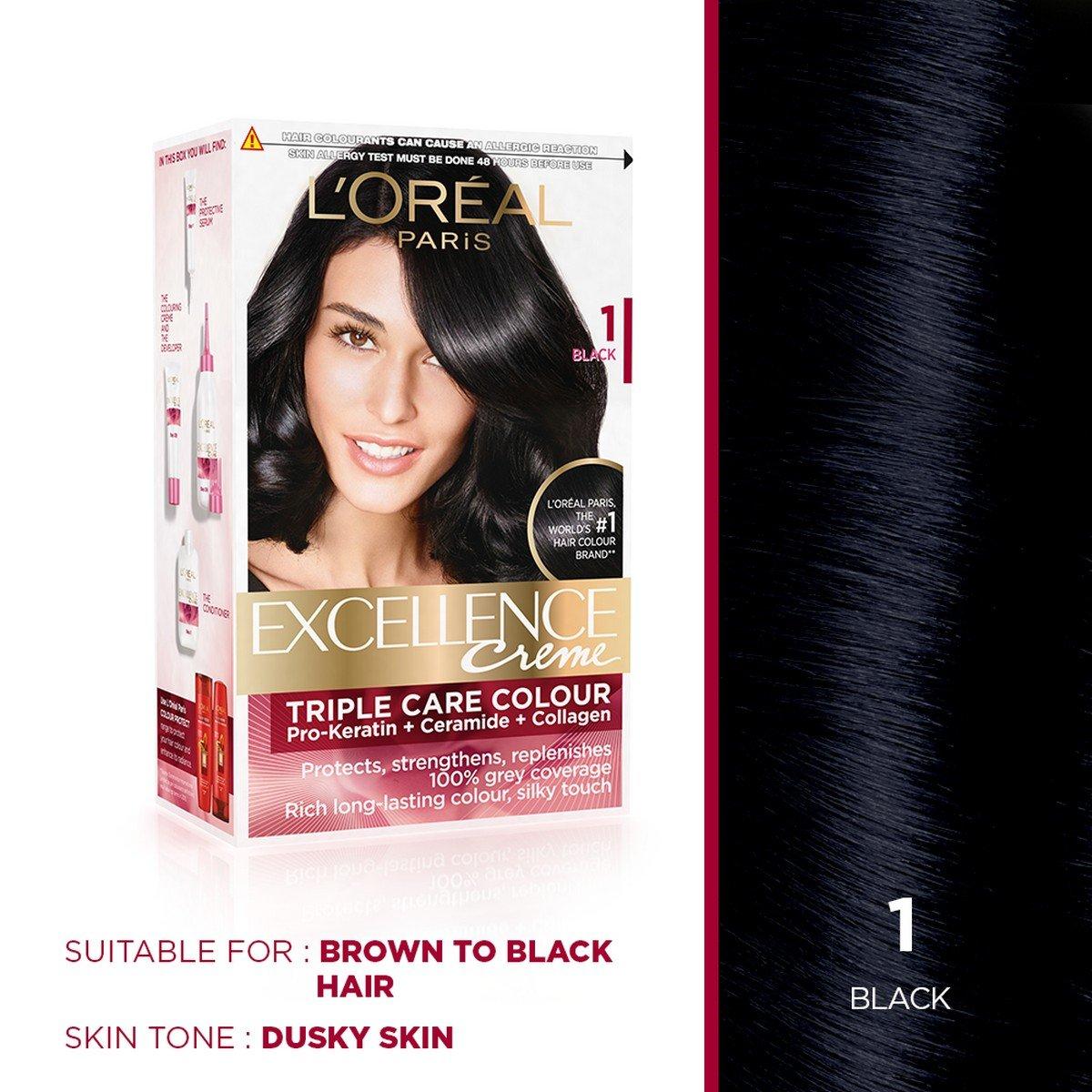 Buy Loreal Paris Excellence Creme Hair Color 1 Black 72ml100g