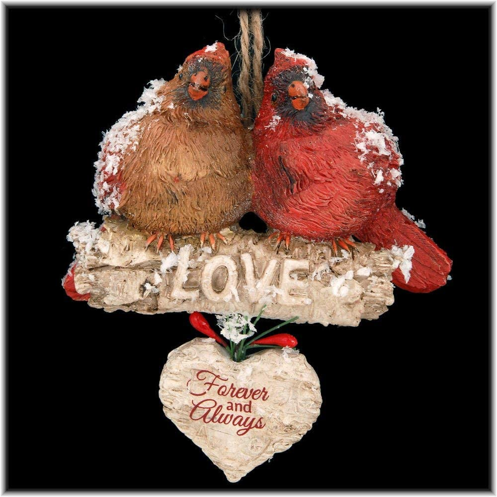 "Kurt Adler ""Love"" Cardinals Sitting On Birch Branch Ornament"
