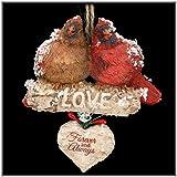 "Kurt Adler ""Love"" Cardinals Sitting On Birch Branch Ornament"