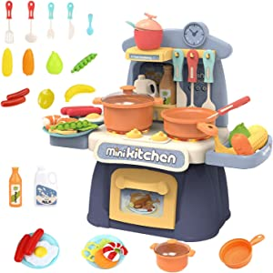 Super-ele Mini kitchen set Kids Cooking Toys Children Kitchen Playset Realistic Miniature Sounds Lights Chefs Pretend Play Dessert Food Party Role Toy Educational for toddlers Birthday Boys Girl(Blue)