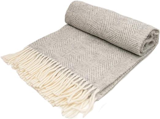 PURE NEW WOOL THROW Blanket Rug MULTI HERRINGBONE STRIPE Grey Pink Blue Yellow