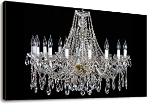 Canvas Wall Art - Crystal White Chandelier and Lamps on Black Background - Giclee Print Framed Wall Decor 20