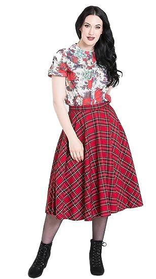 1940s Style Skirts- Vintage High Waisted Skirts Hell Bunny Irvine Red Tartan 50s Vintage Retro Flare Swing Skirt $49.90 AT vintagedancer.com