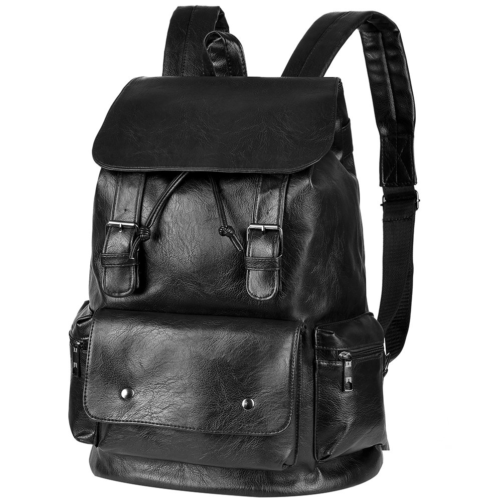 Vbiger Unisex PU Leather Laptop Backpack Large-capacity Casual Daypack Multi-purpose Drawstring Shoulders Bag with Multiple Pockets and Drawstring Opening, Suitable for Men and Women (Black)