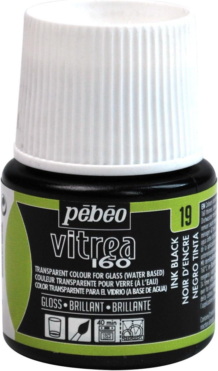 Pebeo Vitrea 160, Glossy Glass Paint, 45 ml Bottle - Ink Black