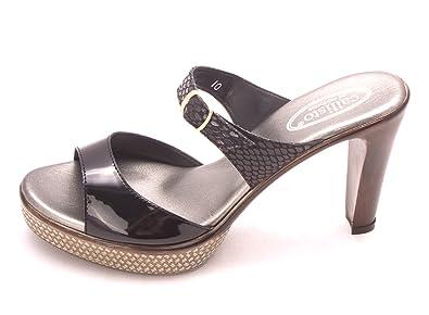 Callisto Women's Layla Open Toe Slide Heels Black Combo Size 9.0