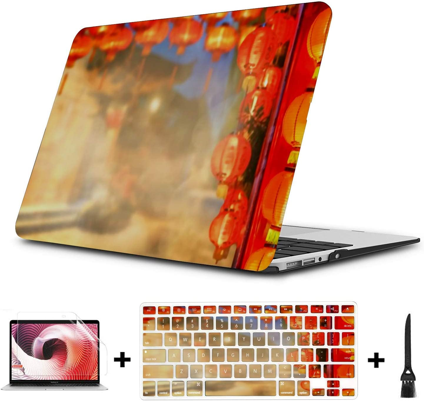 MacBook Pro Case Chinese New Year Lanterns Chinatown MacBook Air 13 Touch ID A1932 Plastic Case Keyboard Cover /& Screen Protector /& Keyboard Cleanin