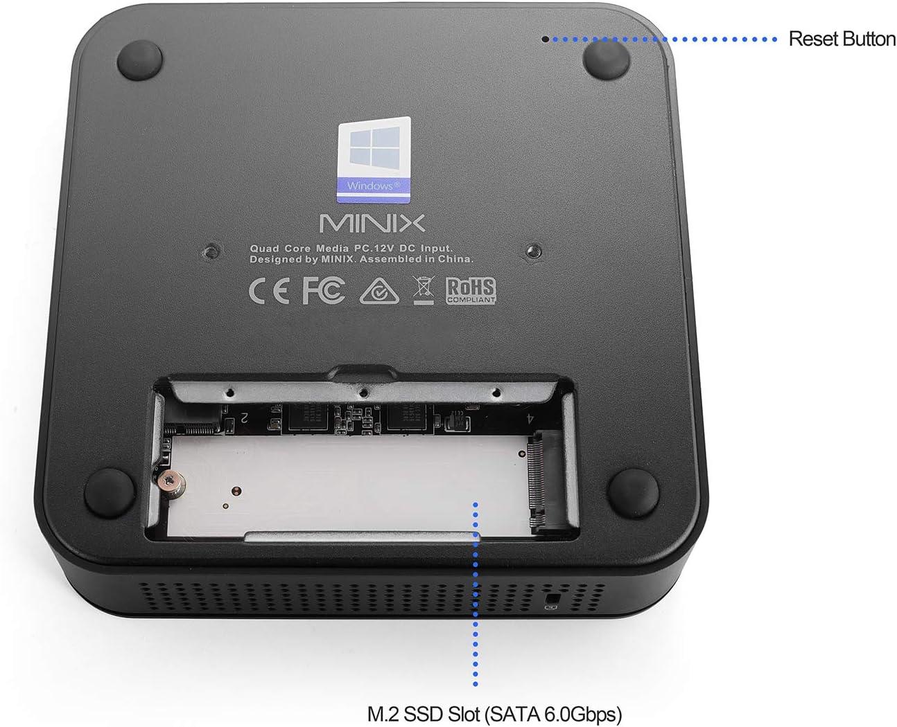 64-bit Intel Celeron N4100, 4GB DDR4, 64GB eMMC 5.1 Mini PC sin Ventilador con Windows 10 Pro MINIX NEO-G41V-4