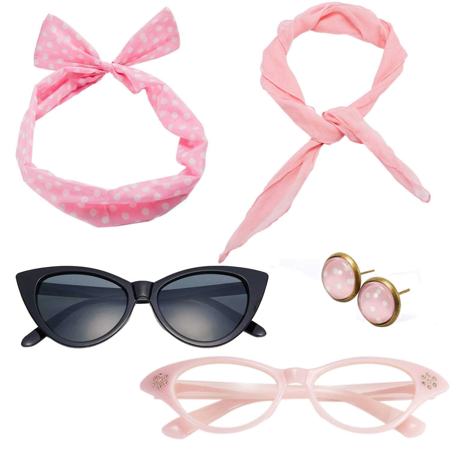 50's Costume Accessories Set Chiffon Scarf Cat Eye Glasses Bandana Tie Headband and Earrings (OneSize, Light Pink)