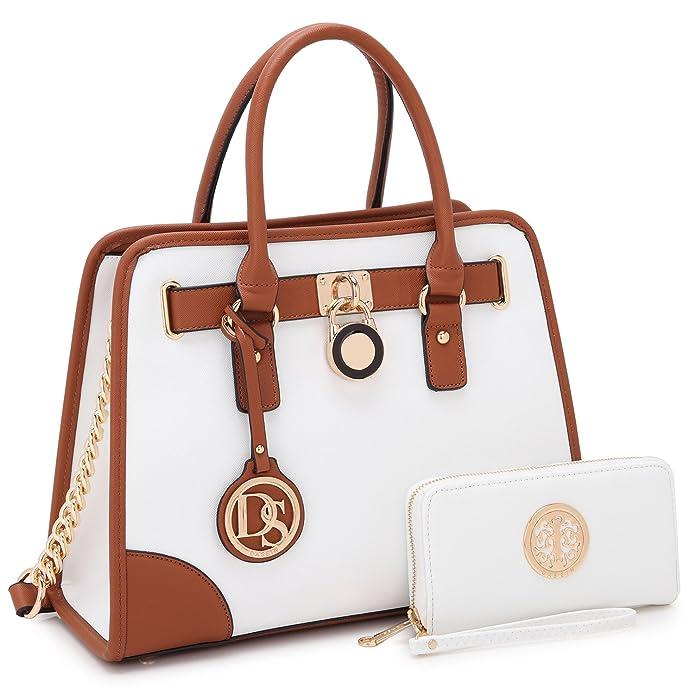 Dasein Women's Designer Handbags Padlock Belted Satchel Bags Top Handle Handbag Purse Shoulder Bag w/Matching Wallet (02-6892 Simple Color Light Blue)