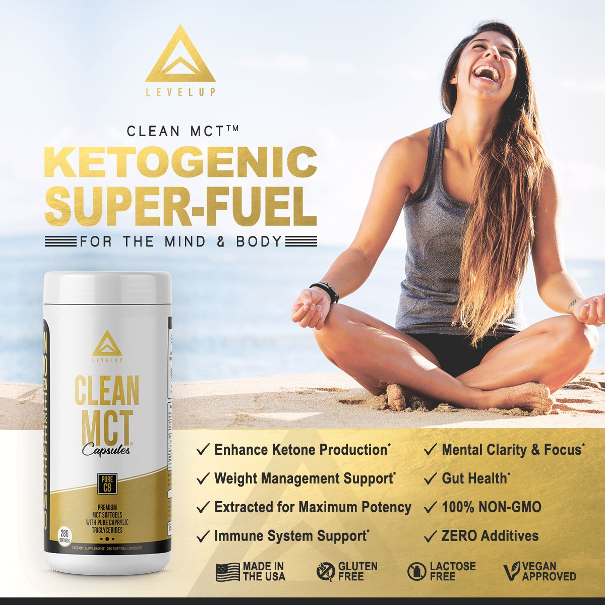 Clean MCT Capsules - Pure C8 MCT Oil Softgels - Highly Ketogenic Medium Chain Triglycerides - Instantly Converts into Ketones - Supports Ketosis - Cognitive Function - 1000mg Each by LevelUp (Image #4)