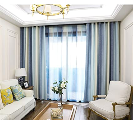 AiFish Striped Semi Blackout Curtains Bedroom Classic Wide Striped Window  Treatment Beige Light/Dark Blue Grommet Room Darkening Modern Curtain Panel  ...