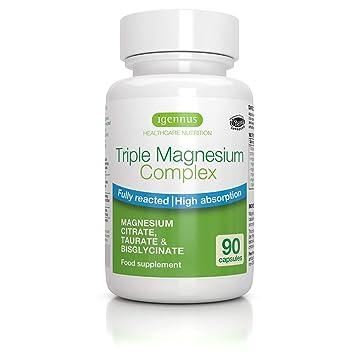 Complejo Triple de Magnesio, Citrato de Magnesio, Taurato y Bisglicinato, Vegano, 90 Cápsulas
