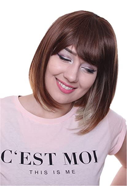 Prettyland C1150 - Smooth Bob peluca longitud media peinado de moda flequillo recto - Ombre Brown