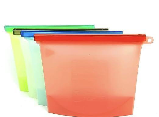 The Essentials Line - Bolsas de Silicona Reutilizables de Calidad alimentaria (4 Unidades) Fácil de Limpiar, sin BPA, no tóxico ya Prueba de Fugas.