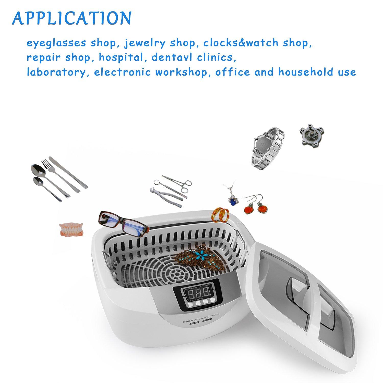 Limpiador Ultrasónico Yokkao® Equipo de Limpieza por Ultrasonidos con Temporizador y Sistema de Calefacción para Dentaduras, Gafas, Cepillos de Dientes, ...