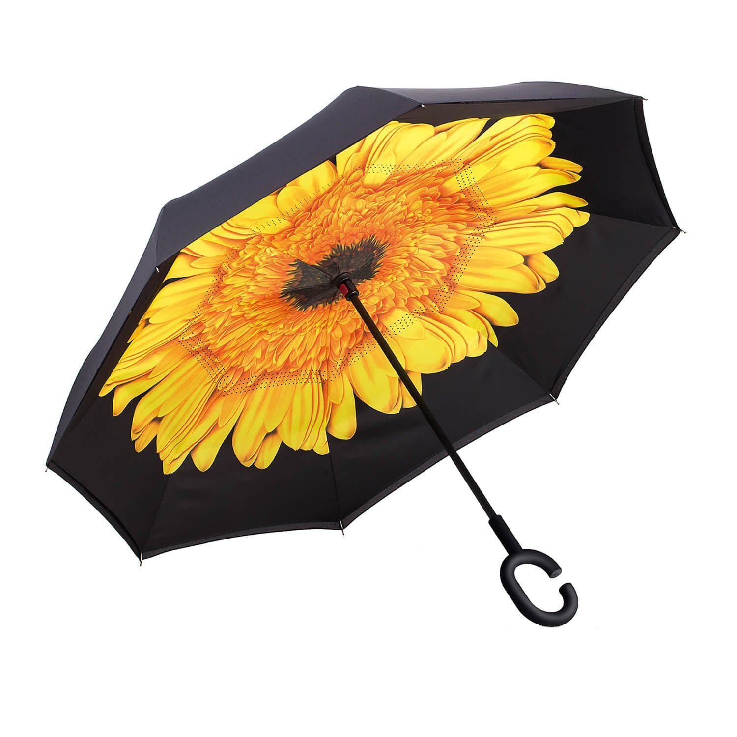 Inverted Umbrella by Satchpro, Reverse Open Windproof Umbrella with C-Shaped Handle & Carrying Case (Sunflower)